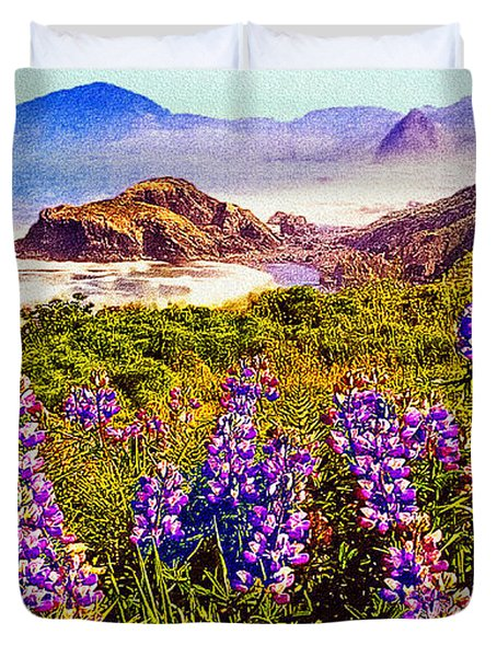Blue Bonnets On Oregon Coastline Duvet Cover by Bob and Nadine Johnston
