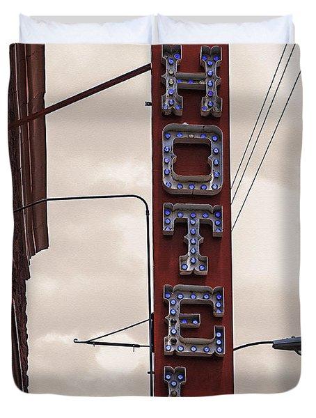 Blue Bulbs Hotel Sign Duvet Cover by Janice Rae Pariza