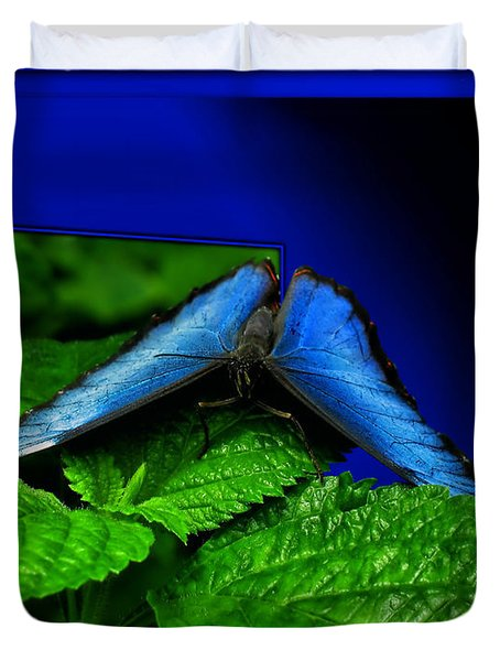 Blue Butterfly 02 Duvet Cover by Thomas Woolworth