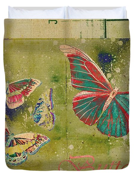 Blue Butterfly Etc - s55ct01 Duvet Cover by Variance Collections