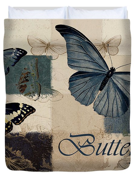 Blue Butterfly - J118118115-01a Duvet Cover by Variance Collections