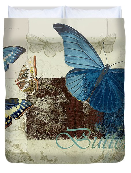 Blue Butterfly - J152164152-01 Duvet Cover by Variance Collections