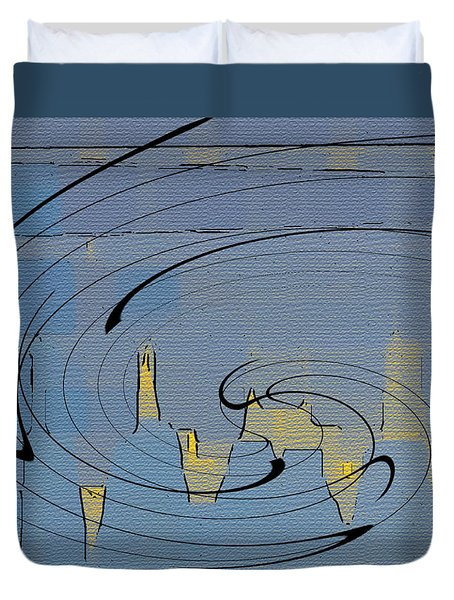 Blue Cityscape Duvet Cover by Ben and Raisa Gertsberg