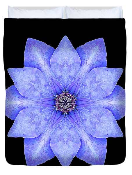 Blue Clematis Flower Mandala Duvet Cover by David J Bookbinder