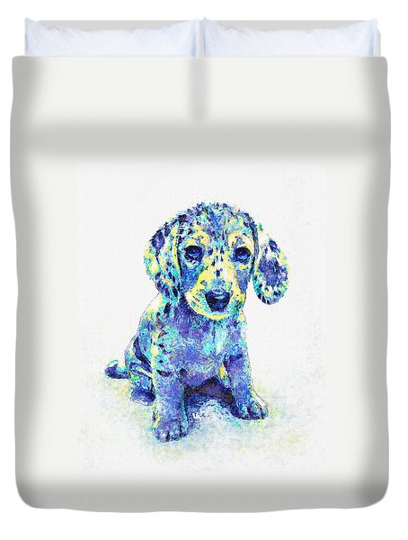 Blue Dapple Dachshund Puppy Duvet Cover by Jane Schnetlage