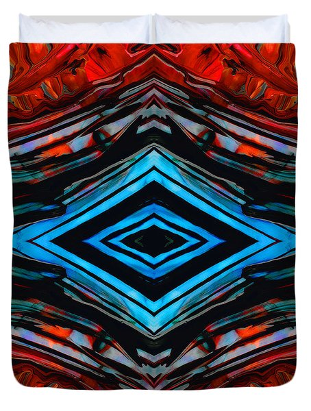 Blue Diamond Art By Sharon Cummings Duvet Cover by Sharon Cummings