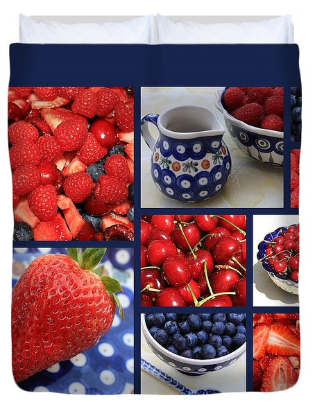 Blue Dishes And Fruit Collage Duvet Cover by Carol Groenen