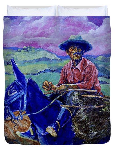Blue Donkey Duvet Cover by Derrick Higgins