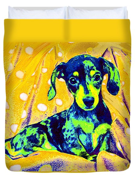 Blue Doxie Duvet Cover by Jane Schnetlage