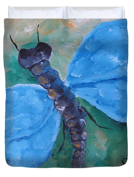 Blue -dragonfly Duvet Cover by Beverly Livingstone