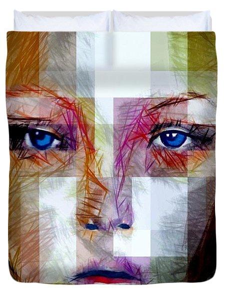 Blue Eyes Girl Duvet Cover by Rafael Salazar