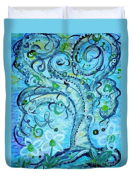 Blue Fantasy Tree Duvet Cover by Eloise Schneider