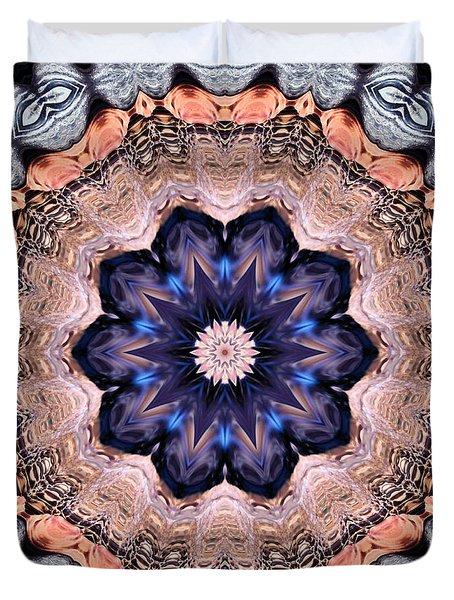 Blue Flora Mandala Duvet Cover by Kristin Elmquist