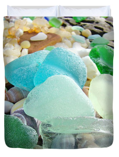 Blue Green Sea Glass Beach Coastal Seaglass Duvet Cover by Baslee Troutman