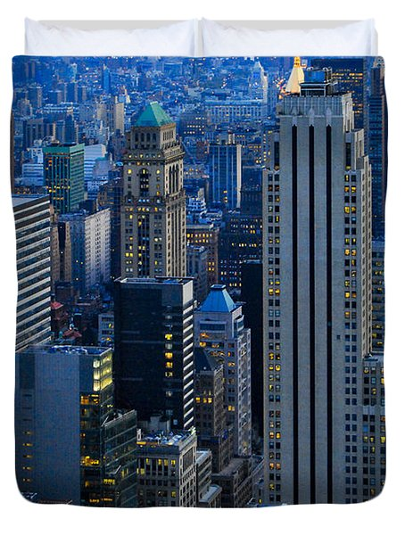 Blue Hour In New York City Usa Duvet Cover by Sabine Jacobs