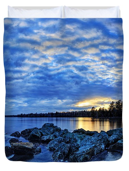 Blue Ice At Sunset Duvet Cover by Bill Caldwell -        ABeautifulSky Photography