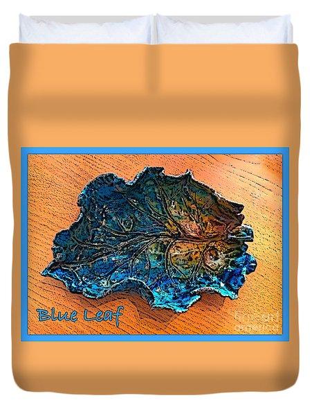 Blue Leaf Ceramic Design 2 Duvet Cover by Joan-Violet Stretch
