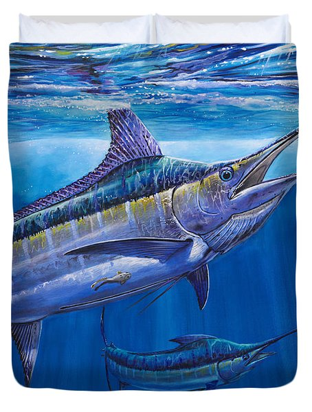 Blue Marlin Bite Off001 Duvet Cover by Carey Chen