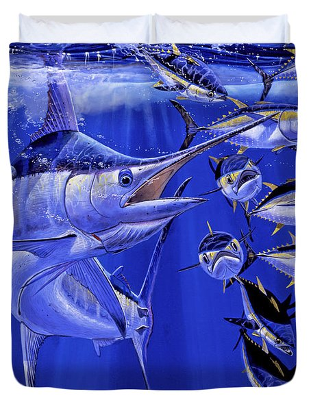 Blue Marlin Round Up Off0031 Duvet Cover by Carey Chen
