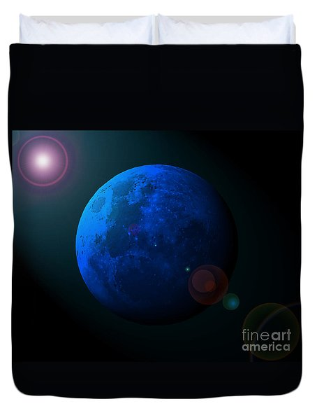 Blue Moon Digital Art Duvet Cover by Al Powell Photography USA