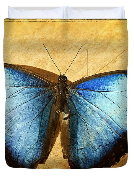Blue Morpho Butterfly  Duvet Cover by Saija  Lehtonen