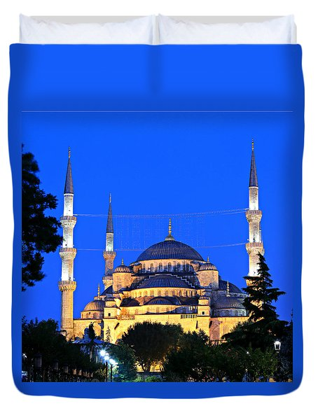 Blue Mosque At Dawn Duvet Cover by Stephen Stookey