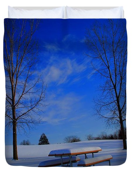 Blue On A Snowy Day Duvet Cover by Dan Sproul
