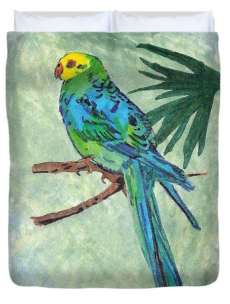 Blue Parakeet Duvet Cover by Gail Daley
