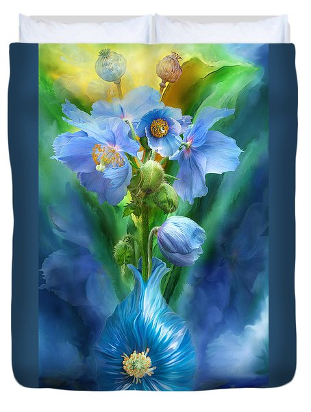 Blue Poppies In Poppy Vase Duvet Cover by Carol Cavalaris
