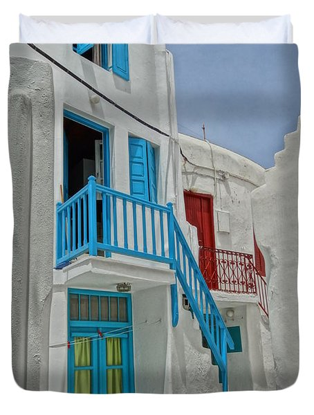 Blue Railing With Stairway In Mykonos Greece Duvet Cover by M Bleichner