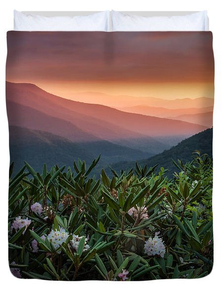 Blue Ridge Morn With Rose Bay Rhododendron  Duvet Cover by Rob Travis
