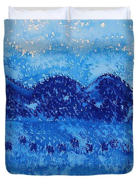 Blue Ridge original painting Duvet Cover by Sol Luckman