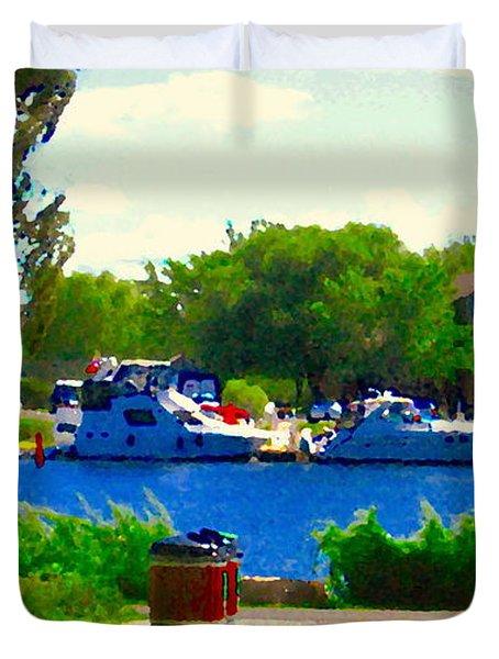Blue Skies Boats And Bikes Montreal Summer Scene The Lachine Canal Seascape Art Carole Spandau Duvet Cover by Carole Spandau
