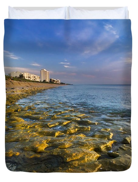 Blue Sky Over Coral Cove Duvet Cover by Debra and Dave Vanderlaan
