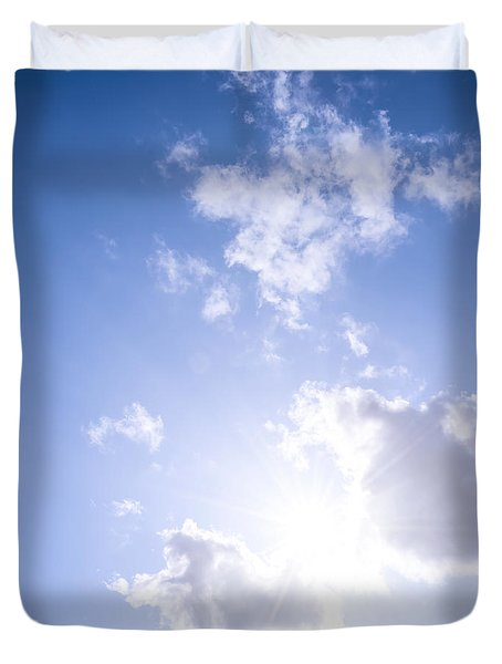 Blue sky with sun and clouds Duvet Cover by Elena Elisseeva