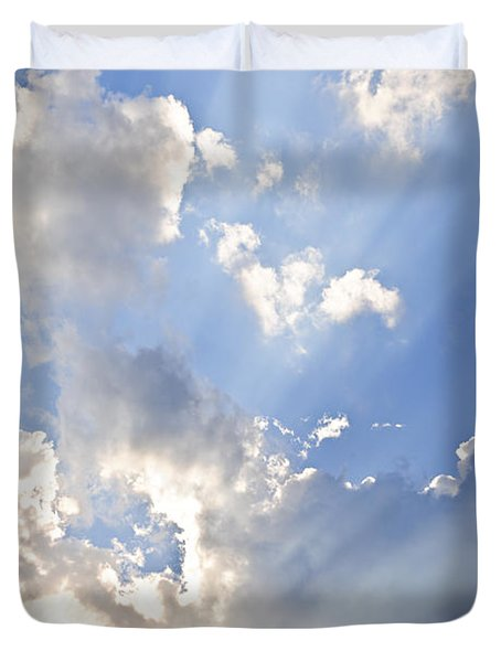 Blue sky with sun rays Duvet Cover by Elena Elisseeva