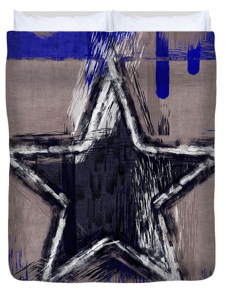 Blue Star Abstract Duvet Cover by David G Paul