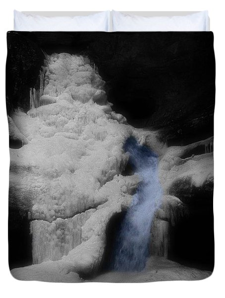 Blue Waterfall Frozen Landscape Duvet Cover by Dan Sproul