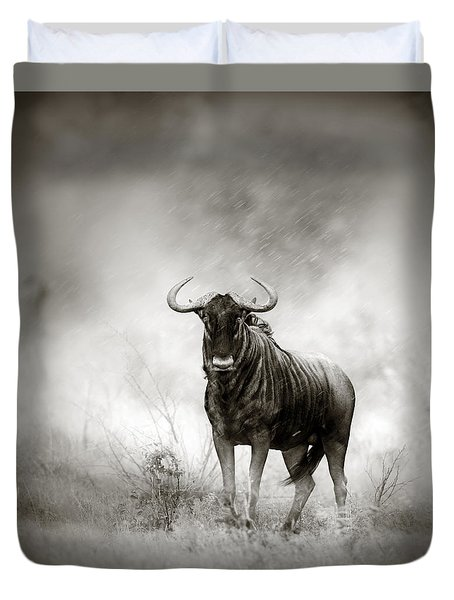 Blue Wildebeest In Rainstorm Duvet Cover by Johan Swanepoel