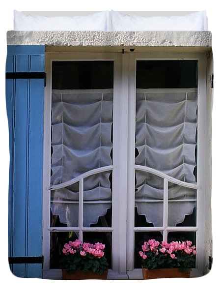 Blue Window Shutters Duvet Cover by Georgia Fowler