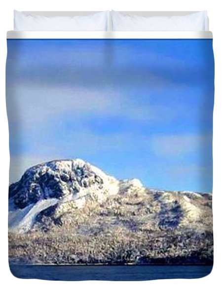 Blue Winter Triptych Duvet Cover by Barbara Griffin