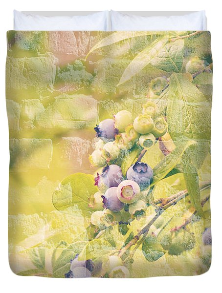 Blueberries Painted on the Wall Duvet Cover by Alanna DPhoto