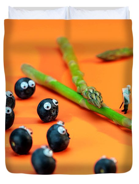 Blueberry Protesting Duvet Cover by Paul Ge