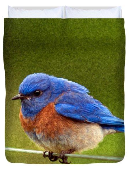 BlueBird  Painting Duvet Cover by Jean Noren