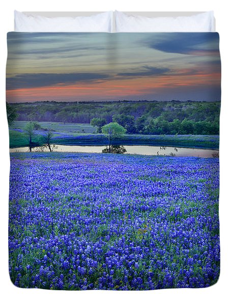 Bluebonnet Lake Vista Texas Sunset - Wildflowers Landscape Flowers Pond Duvet Cover by Jon Holiday