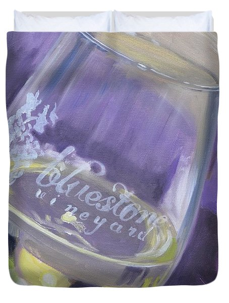 Bluestone Vineyard Wineglass Duvet Cover by Donna Tuten