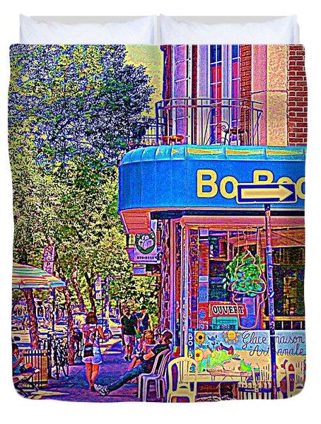Bo Bec Creme Glacee Ice Cream Shop Laurier Montreal Springtime Cafe Scene By Carole Spandau Duvet Cover by Carole Spandau