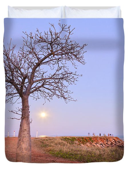 Boab Tree And Moonrise At Broome Western Australia Duvet Cover by Colin and Linda McKie