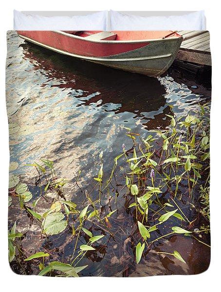Boat at dock  Duvet Cover by Elena Elisseeva