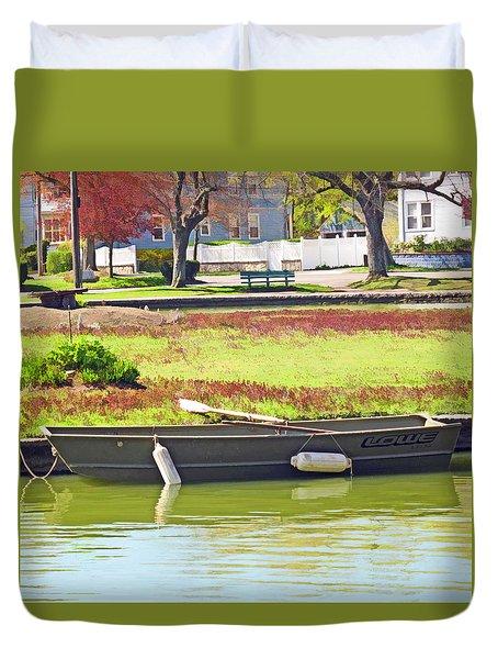 Boat At The Pond Duvet Cover by Barbara McDevitt